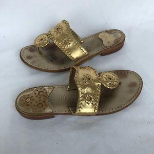 Jack Rogers gold sandal 6